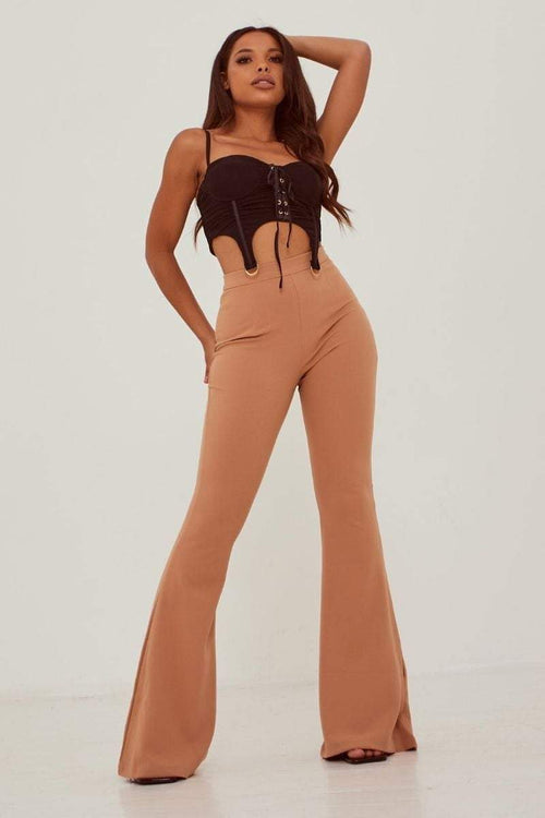 Tan Wide Leg Flare High Waist Trousers - KATCH ME