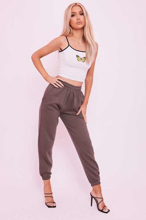 Taupe Cuffed Joggers- Phillipa - KATCH ME