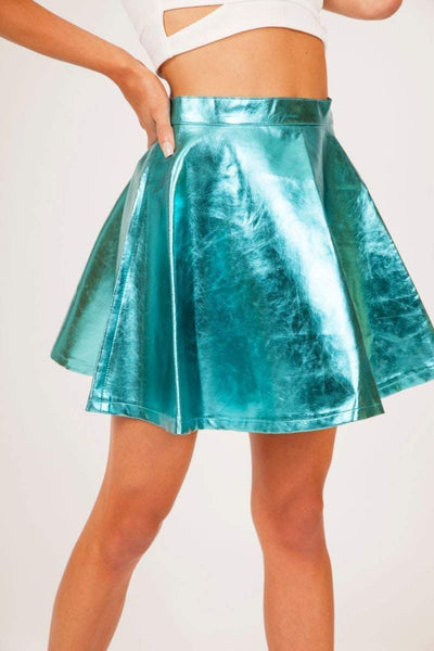 Turquoise High Shine Skater Skirt - KATCH ME