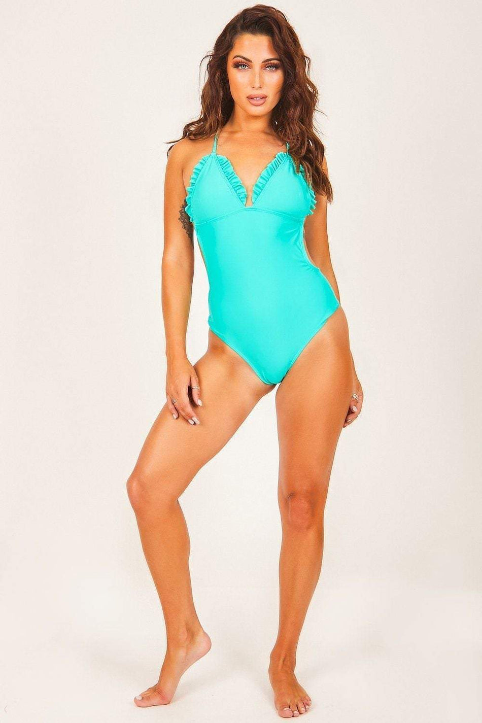 Turquoise Strappy Plunge Swimsuit - KATCH ME