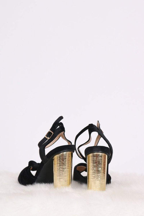 Val Metallic Block Heels - KATCH ME