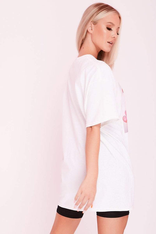 White 'Baby Girl' Graffiti Slogan Oversized T-Shirt- Violet - KATCH ME