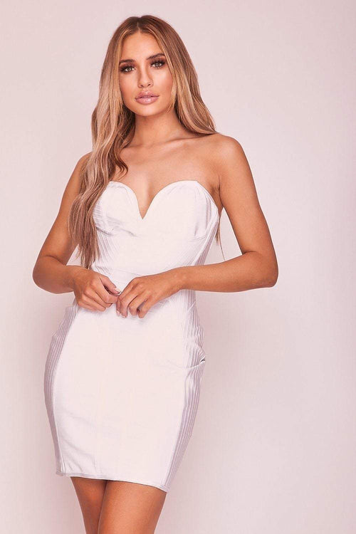 White Bandage Cupid Neckline Mini Dress - KATCH ME