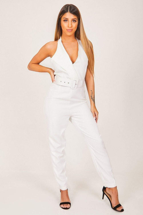 White Belted Jumpsuit - KATCH ME