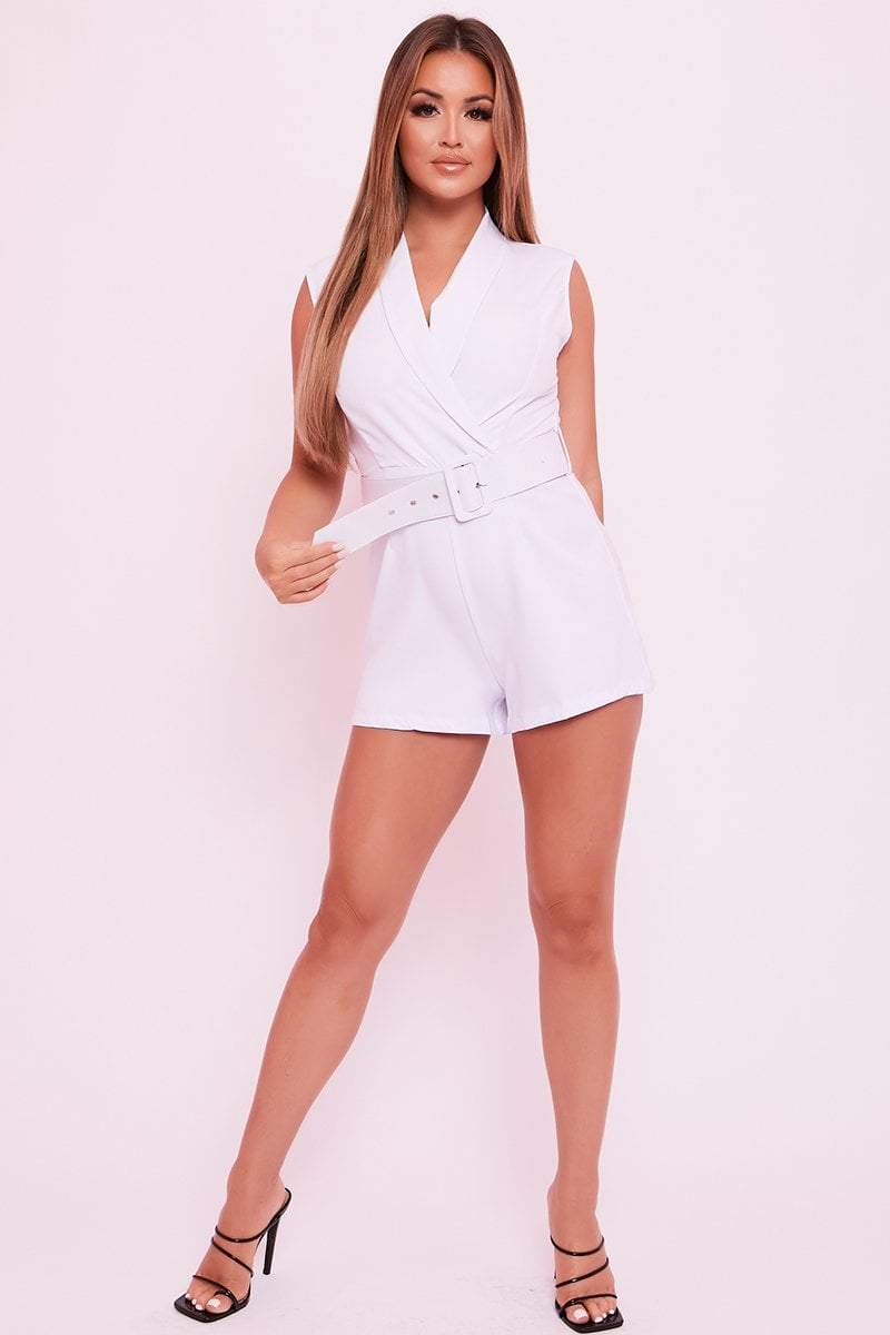White Belted Playsuit - Hanna - KATCH ME