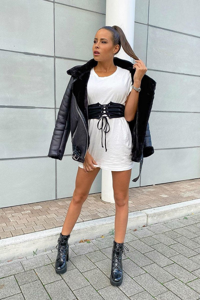 White Belted T-Shirt Dress - McKinley - KATCH ME