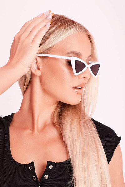 White & Black Triangular Sunglasses- Nora - KATCH ME