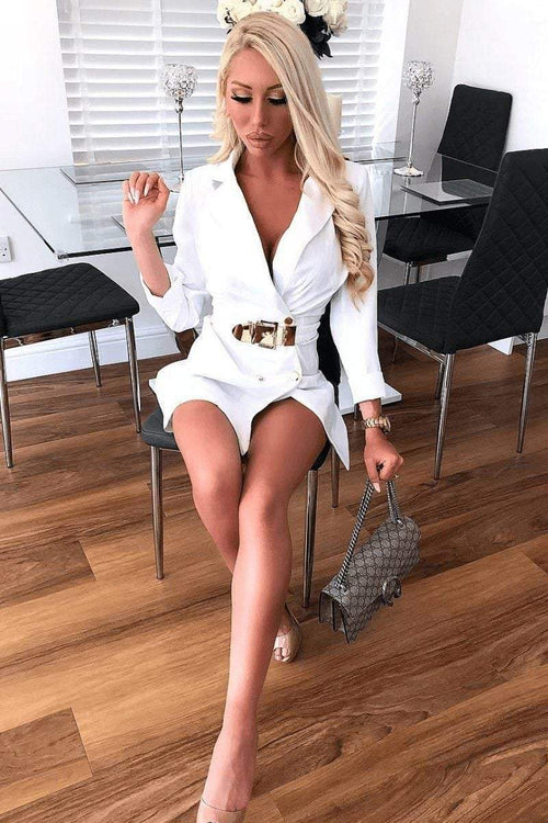 White Blazer Dress With Gold Belt - KATCH ME