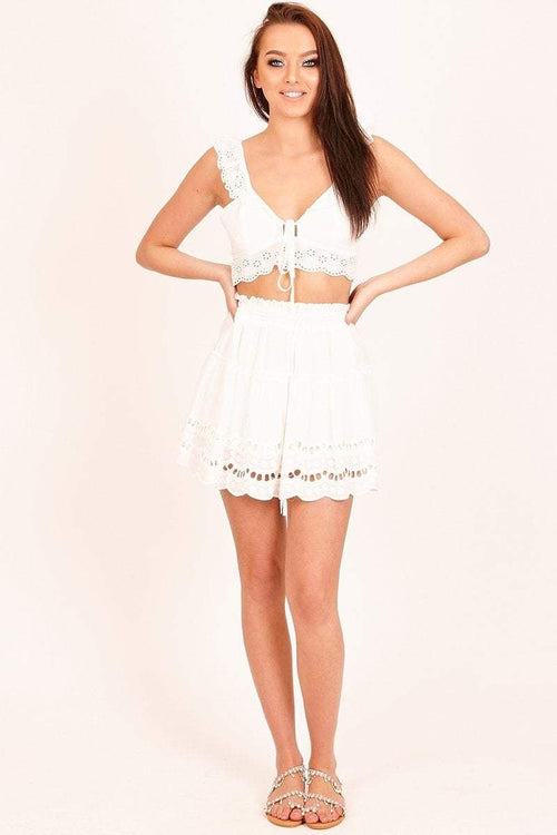 White Broderie Frill Mini Skirt - KATCH ME