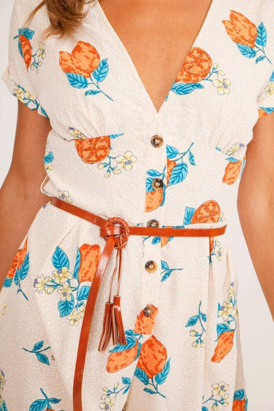 White Button Up Floral Playsuit - KATCH ME