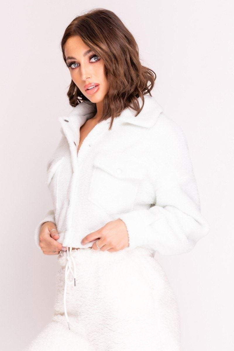 White Button Up Teddy Jacket - KATCH ME