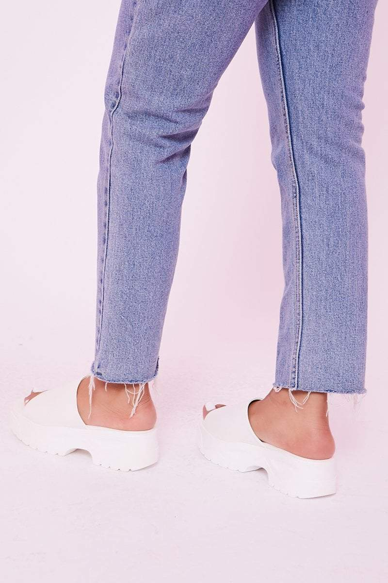 White Chunky Flatform Sliders - Chloe - KATCH ME