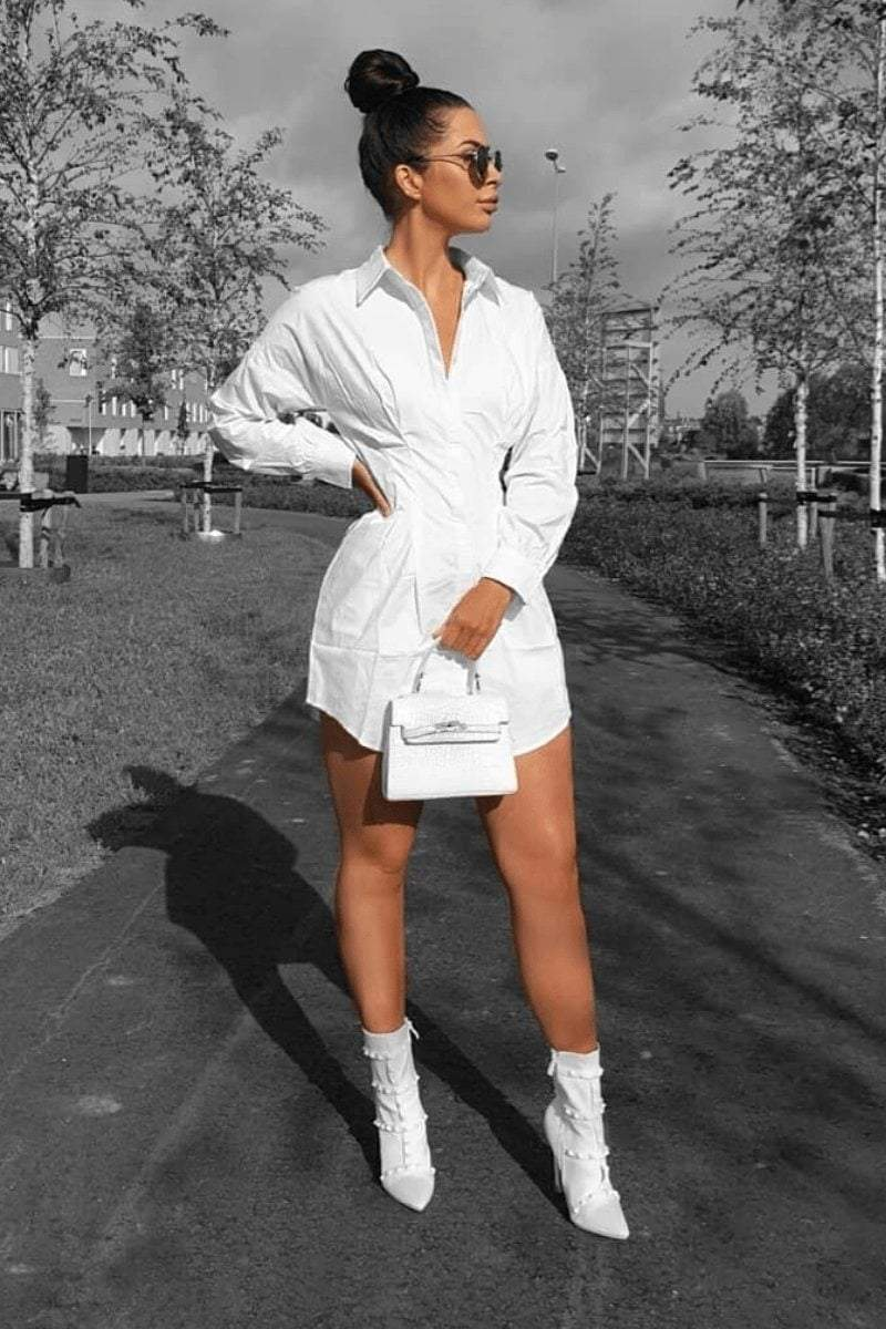 White Cinch Waist Shirt Dress - KATCH ME