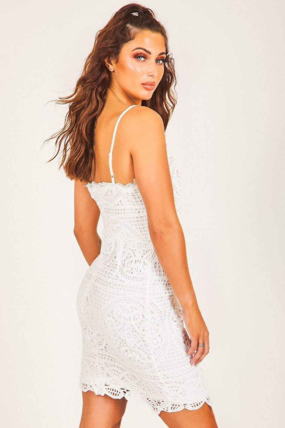 White Crochet Lace Plunge Mini Dress - KATCH ME