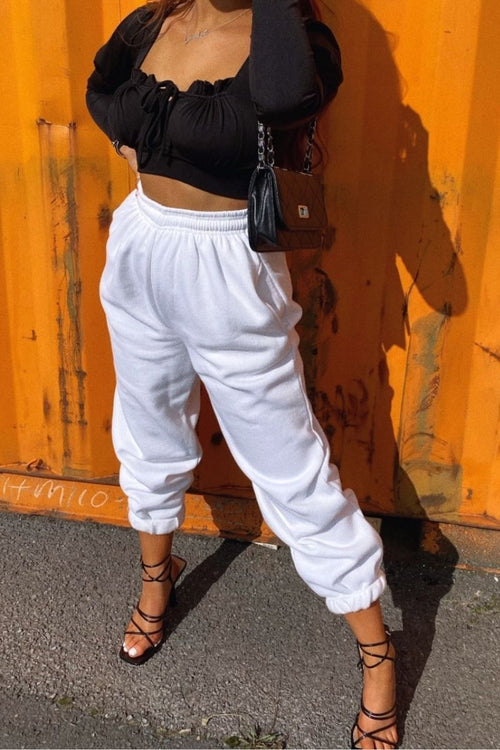 White Cuffed Joggers - Carter - KATCH ME