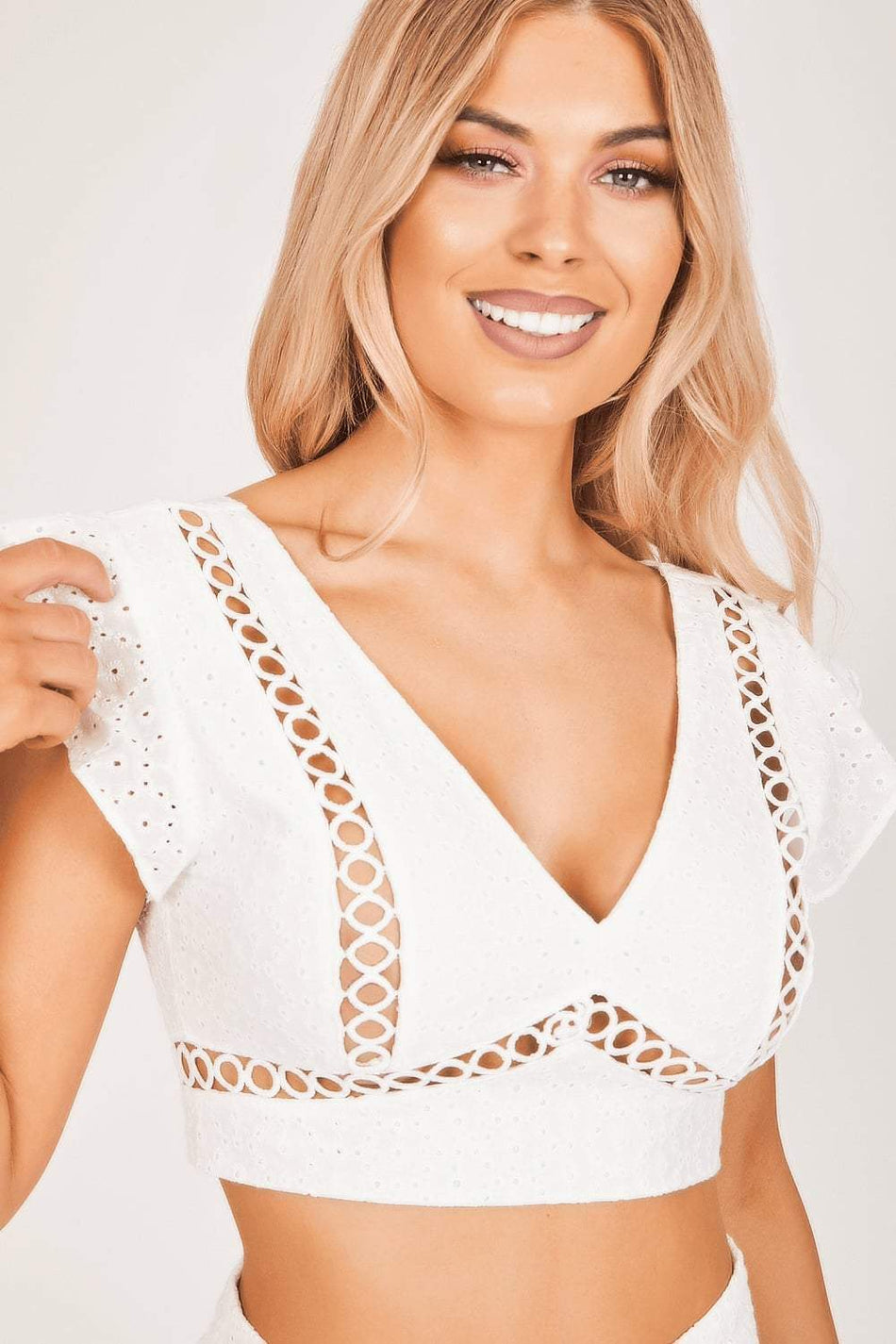 White Cut-Out Eyelet Crop Top - KATCH ME