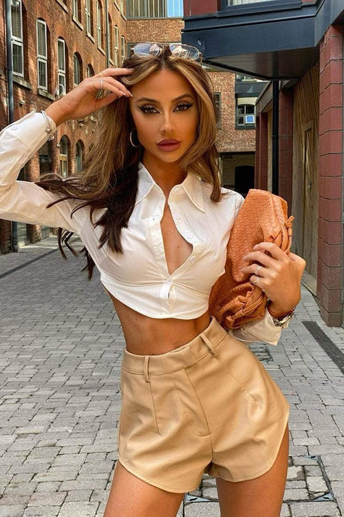 White Cut Out Tie Back Cropped Shirt - KATCH ME