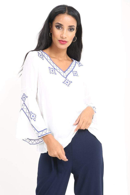 White Embroidered Aztec Top - KATCH ME