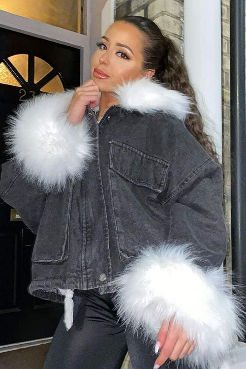 White Faux Fur Oversized Black Denim Jacket - KATCH ME