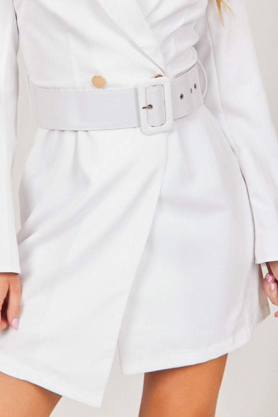 White Flared Sleeve Blazer Dress - KATCH ME