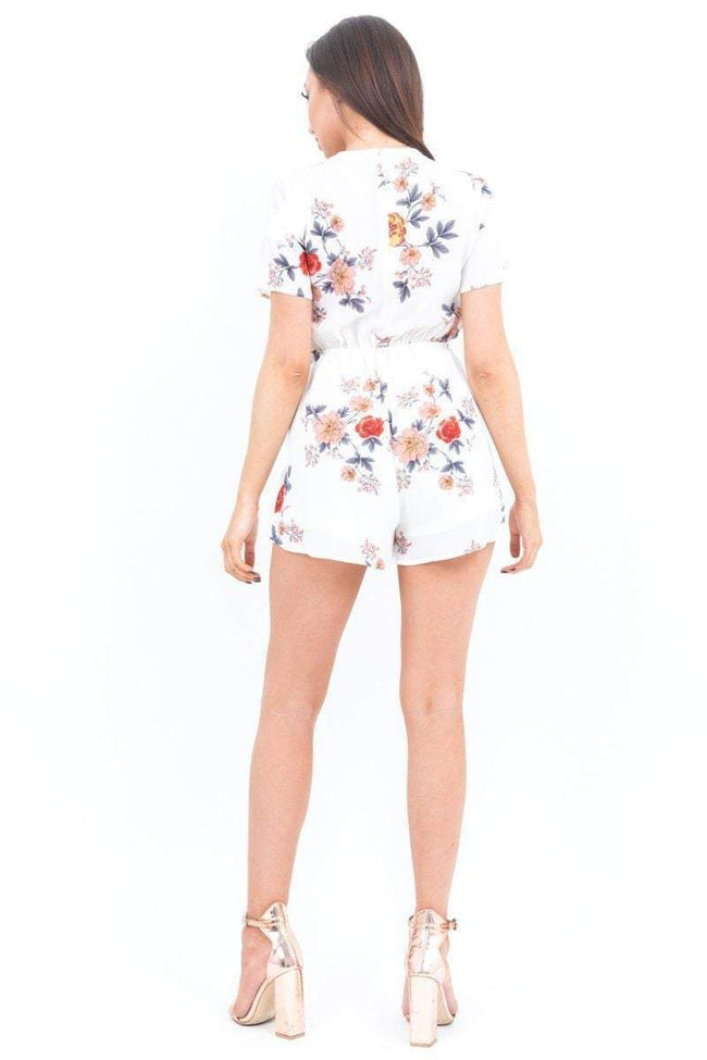 White Floral Plunge Lace Up Playsuit - KATCH ME