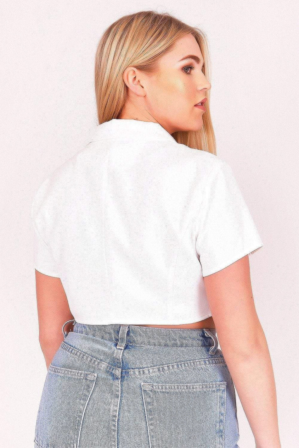 White Gold Button Cropped Shirt - KATCH ME