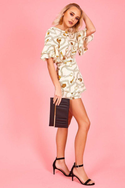 White & Gold Frill Sleeve Baroque Playsuit - KATCH ME
