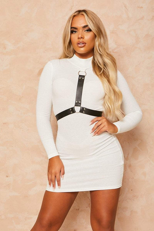 White High Neck Harness Dress - Nina - KATCH ME