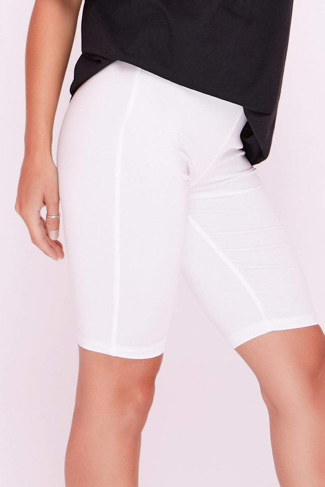 White High Waist Slinky Cycling Shorts - KATCH ME