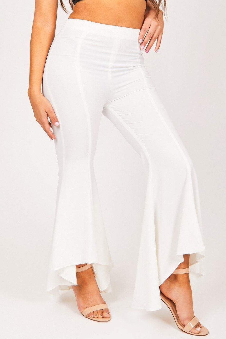 White High Waisted Flare Trousers - KATCH ME