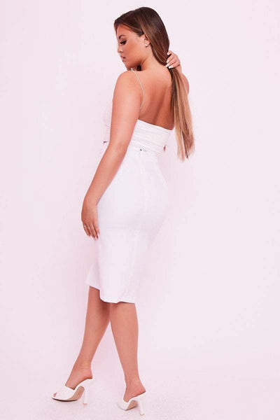 White High Waisted Ring Belted Midi Skirt- Farrah - KATCH ME