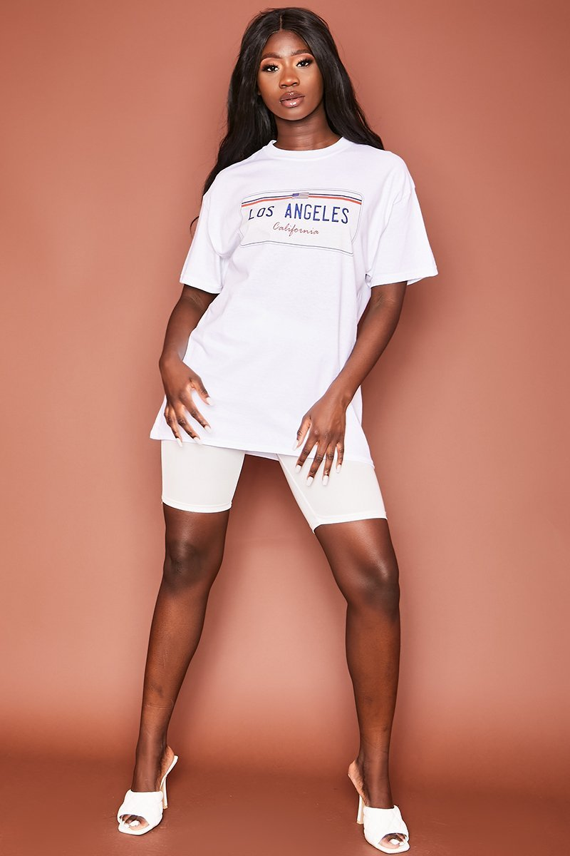White LA Graphic Tee - Alisa - KATCH ME