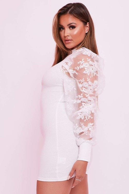 White Lace Puff Sleeve Dress - Rachel - KATCH ME