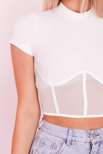 White Mock Neck Mesh Panel Underbust Crop Top- Piper - KATCH ME