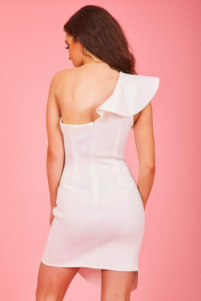 White Neoprene Ruffle Bodycon Mini Dress - KATCH ME