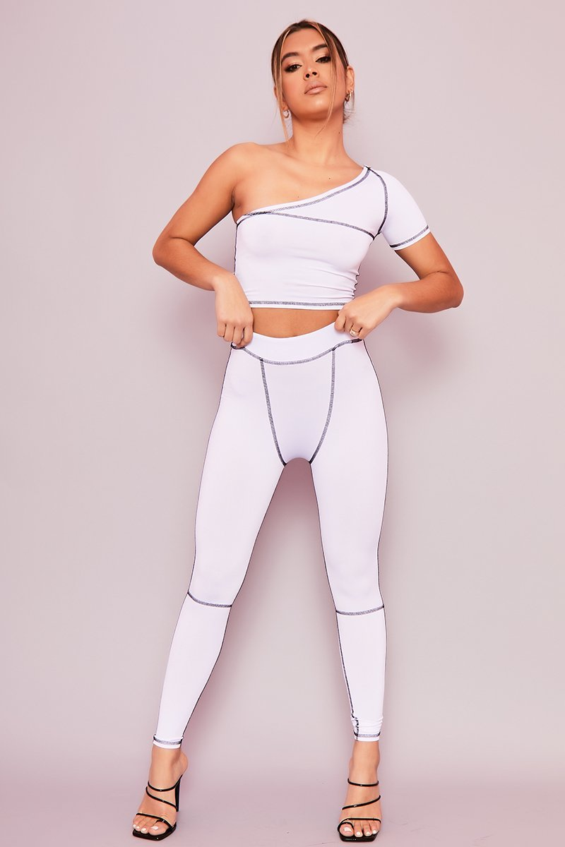 White One Shoulder Contrast Stitch Crop Top & Leggings Co-ord- Ivy - KATCH ME