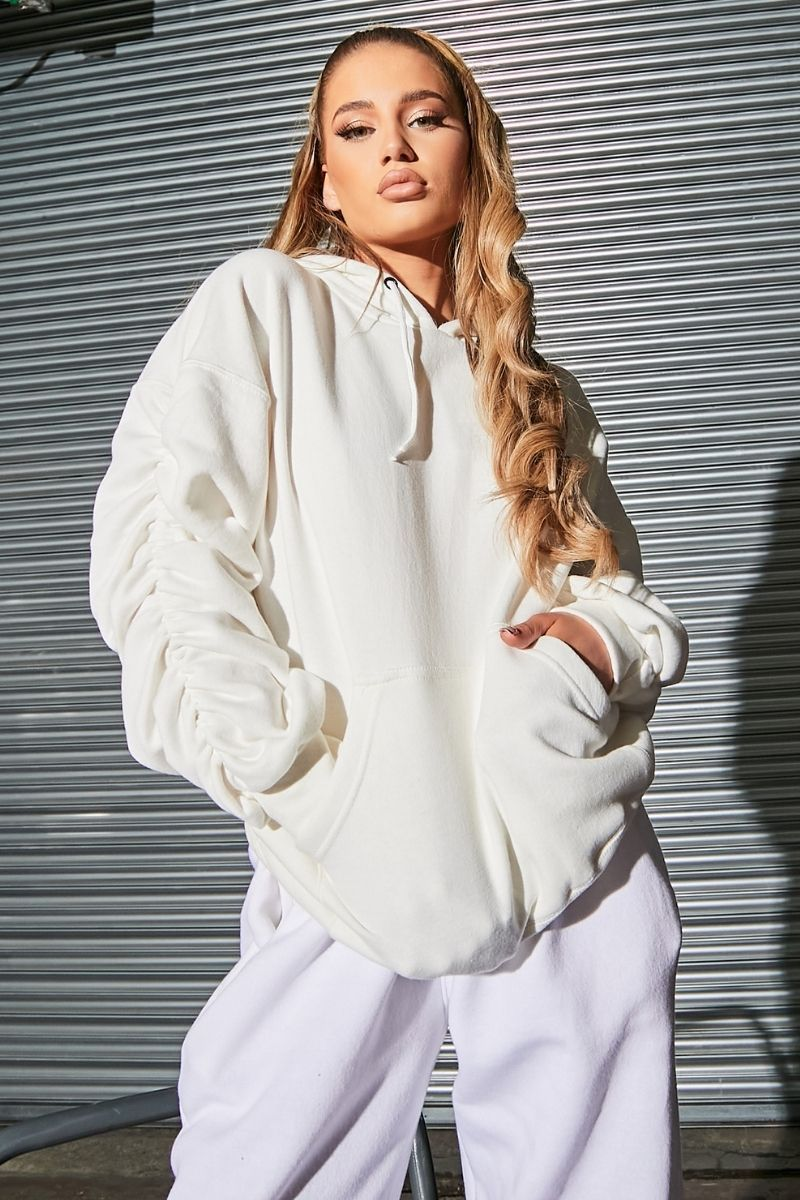 White Oversized Ruched Sleeve Hoodie- Dolly - KATCH ME