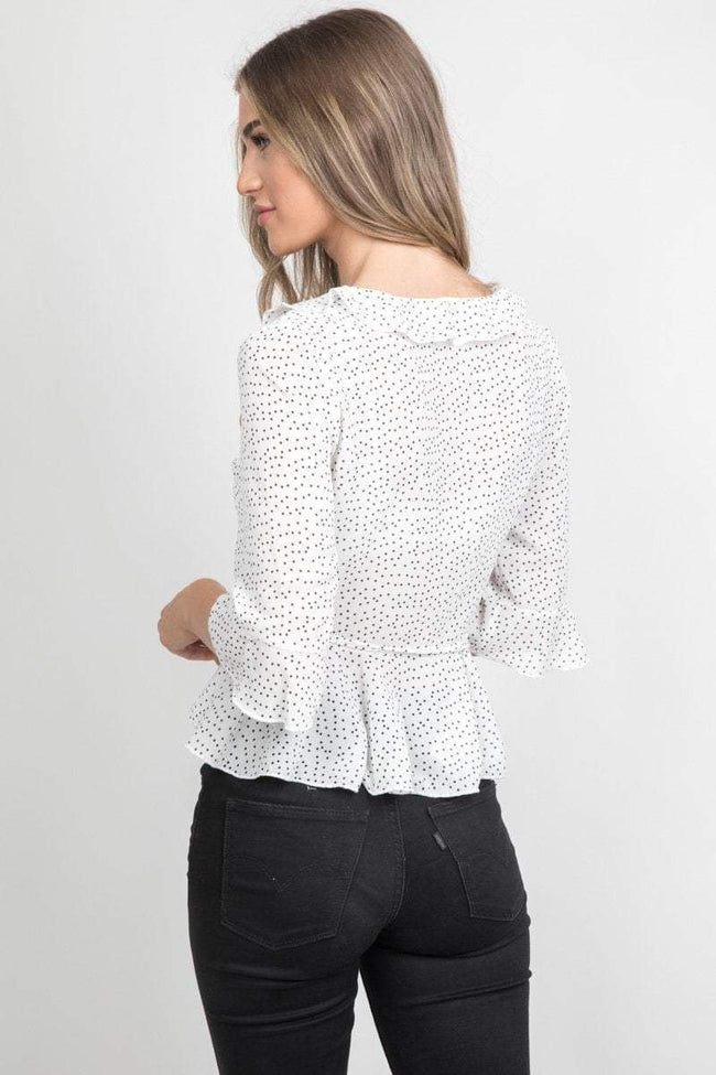 White Polka Dot Ruffle Blouse - KATCH ME