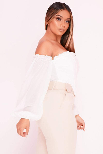 White Puff Sleeve Bardot Corset Top- Paisley - KATCH ME