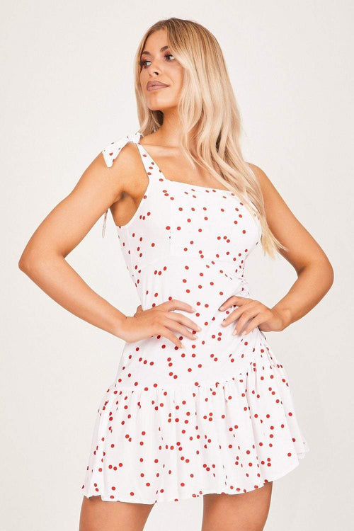 White & Red Spotted Peplum Frill Dress - KATCH ME
