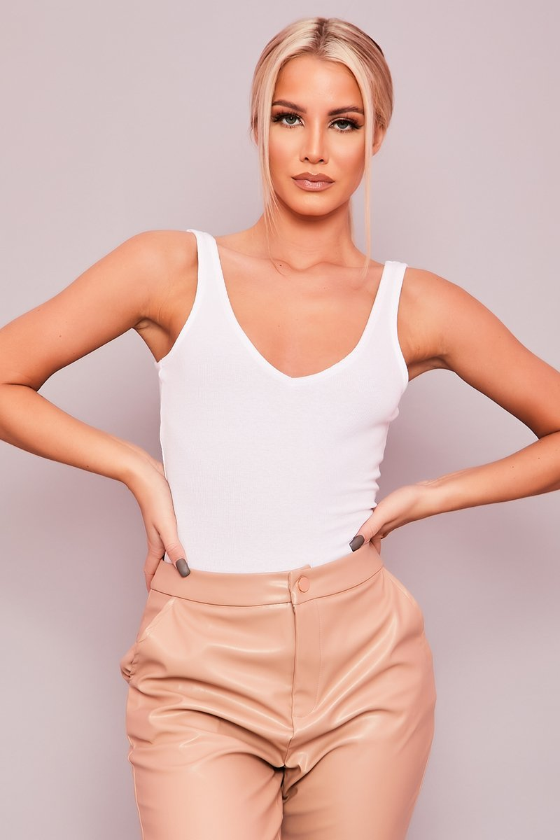 White Ribbed Bodysuit - Lorna - KATCH ME