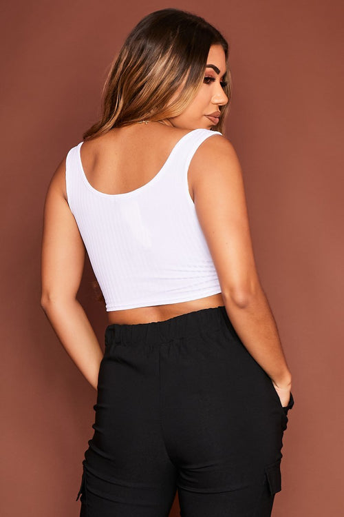White Ribbed Crop Top - Waverly - KATCH ME