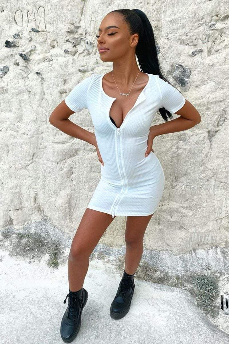 White Ribbed Double Zip Mini Dress- Charlotte - KATCH ME