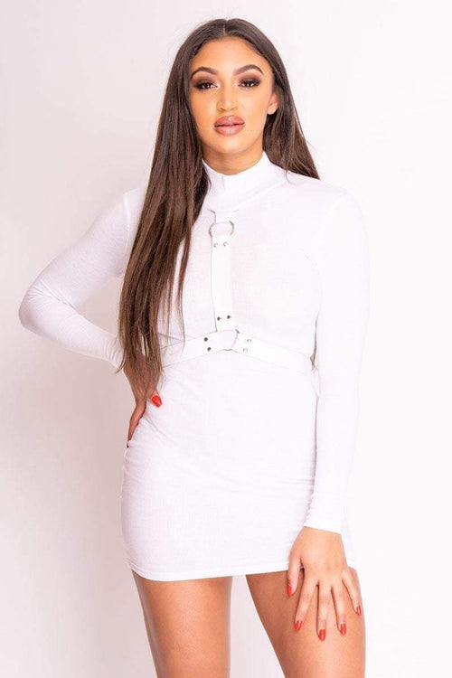 White Ribbed High Neck Harness Dress - KATCH ME