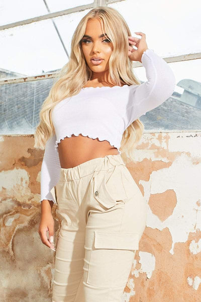 White Ribbed Long Sleeve Crop Top - Camryn - KATCH ME
