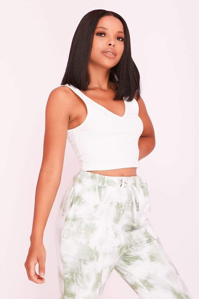 White Ribbed Plunge Neck Crop Top- Mila - KATCH ME