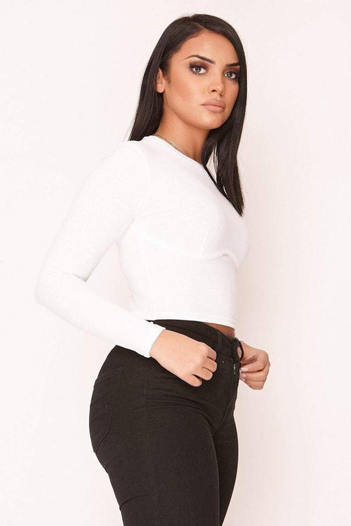 White Ribbed Underwired Crop Top - KATCH ME