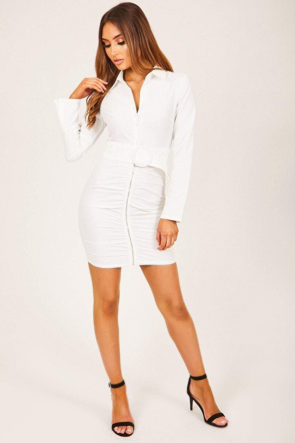 White Ruched Front Dress - KATCH ME