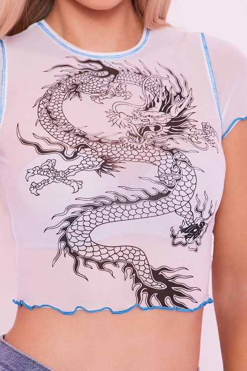 White Sheer Dragon Print Crop Top- Enya - KATCH ME