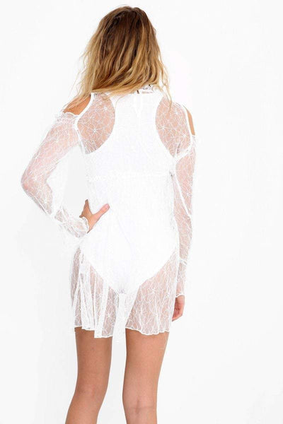 White Sheer Lace Cold Shoulder High Neck Dress - KATCH ME